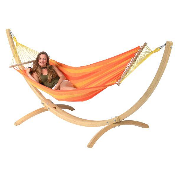 Wood & Relax Orange Hamak Pojedynczy ze Stelażem