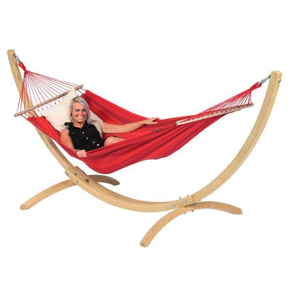 Wood & Relax Red Hamak Pojedynczy ze Stelażem