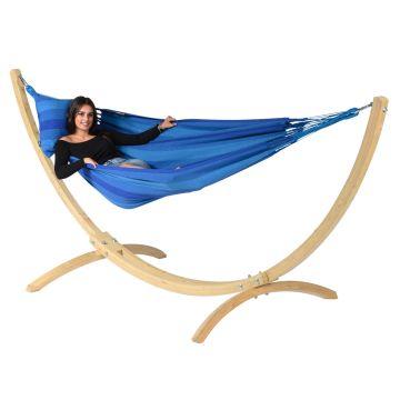 Wood & Dream Blue Hamak Pojedynczy ze Stelażem