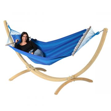 Wood & Relax Blue Hamak Pojedynczy ze Stelażem