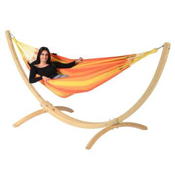 Wood & Dream Orange Hamak Pojedynczy ze Stelażem