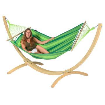 Wood & Relax Green Hamak Pojedynczy ze Stelażem