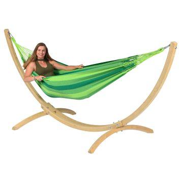 Wood & Dream Green Hamak Pojedynczy ze Stelażem